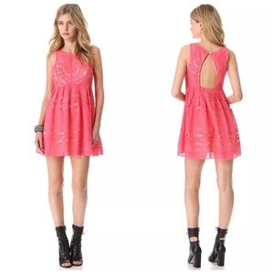 Free People A Line Rocco Lace Dress Open Back Sz 6